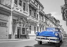Blauwe oldtimer in the city fotomurais Kleurmijninterieur selva