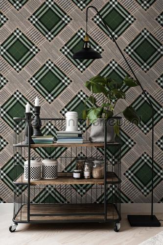 Checkered patchwork british green papier murales WP20389 classique Mindthegap