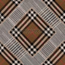 Checkered patchwork mid brown papier murales Mindthegap Collectables 2019 WP20390