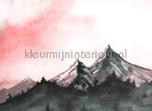 Painted mountains pink sky fototapet AS Creation verdenskort
