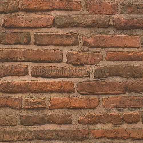 Sfeervolle terrabruine bakstenen muur behang 307471 AS Creation