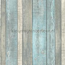 licht turkoise planken van ruw hout behang AS Creation Elements 319932