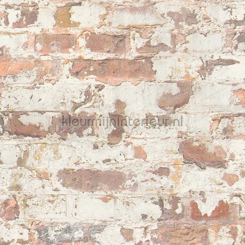 bakstenen met gebaldderd stuckwerk behang 369291 AS Creation