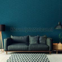 Geschilderde muur warm blauw behang AS Creation Stenen