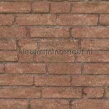 Terrabruine muur met weinig opvallende voegen behang AS Creation Stenen