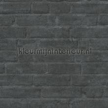 Antraciete muur met weinig opvallende voegen behang AS Creation Stenen