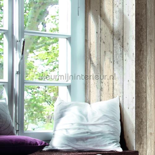 Gekleurde houten stroken papel de parede 895110 madeira AS Creation