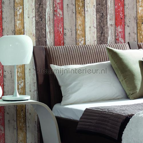 Gekleurde houten stroken papel de parede 895127 madeira AS Creation
