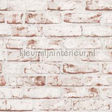 Witte bakstenen muur met terra accenten papier peint AS Creation wallpaperkit