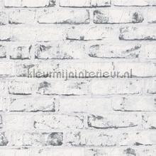 Witte bakstenen muur met grijsaccenten behang AS Creation Stenen