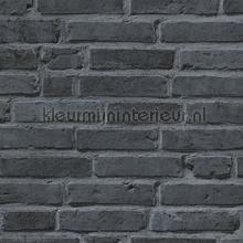 Bakstenen muur donkergrijs behang AS Creation Stenen