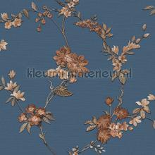 Flower dark blue carta da parati Dutch Wallcoverings Fabric Touch FT221215