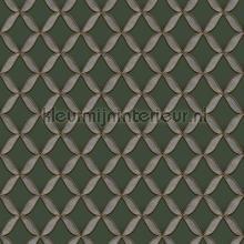Geometric dark green behang Dutch Wallcoverings klassiek
