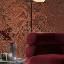 Symbiosis maroon behang Arte behang
