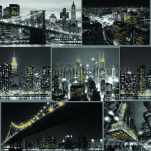 Fresco City at Night Black papel de parede Noordwand urbana