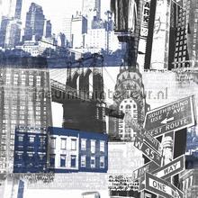 Fresco New York Blue Black papel de parede Noordwand urbana