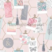 Clip Frames Pink papier peint Noordwand Wallpaper creations