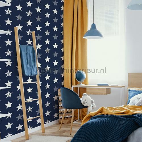 Superstar Navy behang 108265 sterren Noordwand