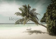Beach with palms and chair in pastel colours fotomurais Kleurmijninterieur Todas-as-imagens