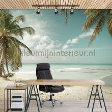 Beach with palms in pastel colours fotomurais Kleurmijninterieur Todas-as-imagens