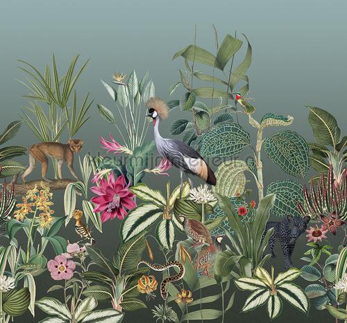 Botanische sfere met exotische dieren fotomurali TD4100 giungla Behang Expresse