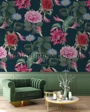 Exotische bloemen op diepblauwe achtergrond photomural Behang Expresse all images