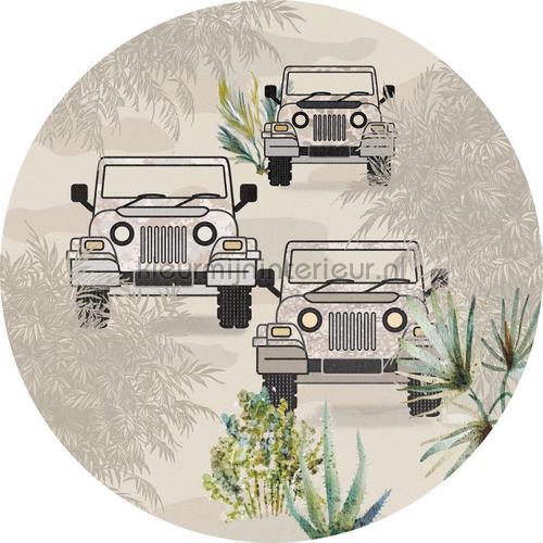 Bush drive sahara cirkel 150cm adesivi murali INK358 Bambini Behang Expresse