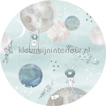 Too the moooon blue cirkel 75cm decoration stickers Behang Expresse teenager