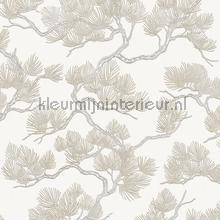 Pine tree white tapet Dutch Wallcoverings Wall Fabric WF121011