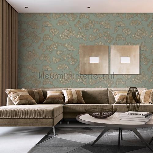 Pine tree green behang WF121013 bladmotief Dutch Wallcoverings