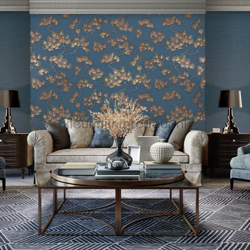 Pine tree blue behang WF121017 bladmotief Dutch Wallcoverings