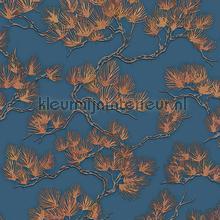 Pine tree blue papier peint Dutch Wallcoverings wallpaperkit