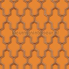 Geometric orange tapet Dutch Wallcoverings Vintage Gamle