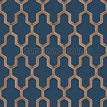 Geometric blue tapet Dutch Wallcoverings Vintage Gamle