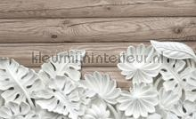 Flowers on wooden planks fotomurais Kleurmijninterieur PiP studio wallpaper