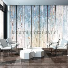 Wooden wall blue and grey fotobehang Kleurmijninterieur Hout