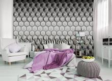 3 D hexagons photomural Kleurmijninterieur Mural room set photo's