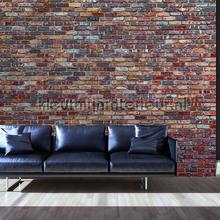 Red stone brick wall photomural Kleurmijninterieur all-images