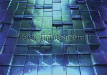 Lifted tiles in greenish blue photomural Kleurmijninterieur all-images