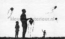Playing with kites Banksy fotobehang Kleurmijninterieur Kunst---Ambiance