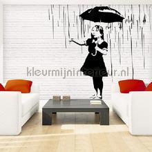 Banksy rain fotobehang Kleurmijninterieur Kunst Ambiance
