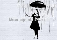 Banksy rain fotobehang Kleurmijninterieur Kunst---Ambiance