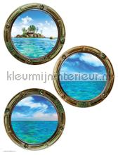 Ronde ramen zee en schepen decoration stickers underwater world