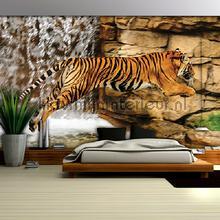 Jumping tiger fotobehang Kleurmijninterieur dieren