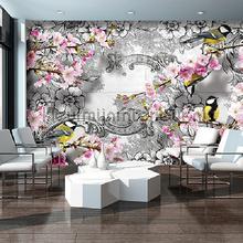 Blossom birds fotobehang Kleurmijninterieur Bloemen Planten