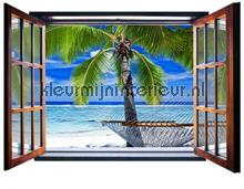 Beach through open window fotobehang Kleurmijninterieur Oosters Trompe loeil