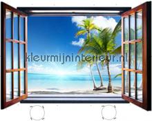 Paradise beach through open window fotobehang Kleurmijninterieur Oosters Trompe loeil