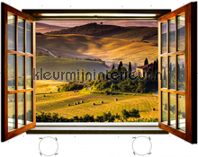 Tuscany beach through open window fotobehang Kleurmijninterieur Oosters Trompe loeil