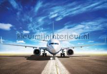 Airplane on runway fottobehaang Kleurmijninterieur tiener