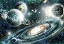 Planets all over fottobehaang Kleurmijninterieur tiener